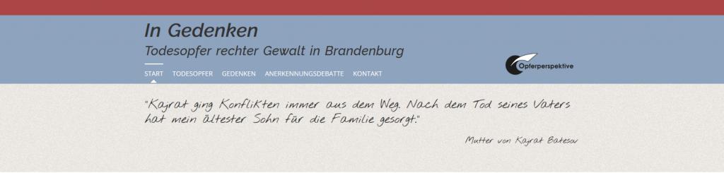 """Website """"Todesopfer rechter Gewalt in Brandenburg"""" jetzt aktualisiert"""