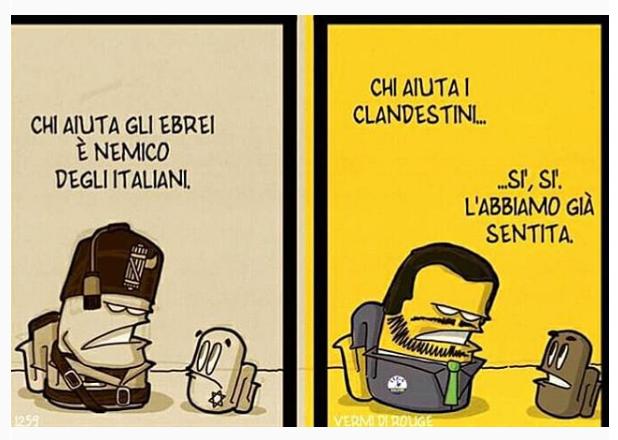 """Karikatur über den Innenminister Salvini von Vermi di Rouge: """"Wer den Juden hilft, ist ein Feind des Volkes"""" - """"Wer den illegalen Einwanderern hilft iste ein..."""" """"Ja, ja, das haben wir schon einmal gehört"""""""